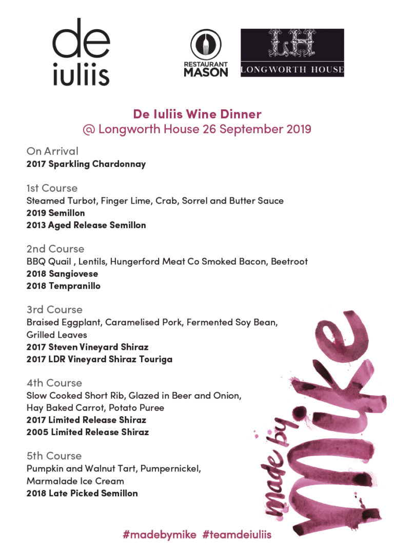 Wine Dinner at Longworth House